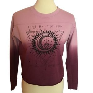 Celestial burn out cropped sweat shirt